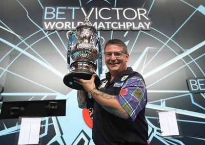 Gary Andersonw with the trophy at the World Matchplay