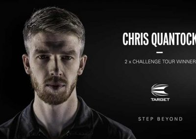 Promotional image of Chris Quantock and his sponsors logo