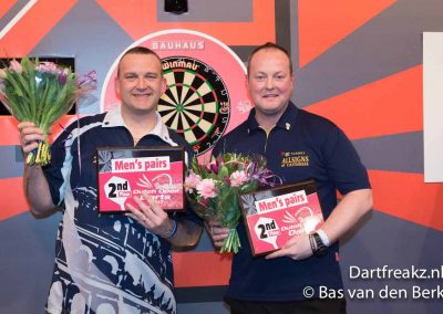 Craig Quinn and a colleague stood in front of dart board