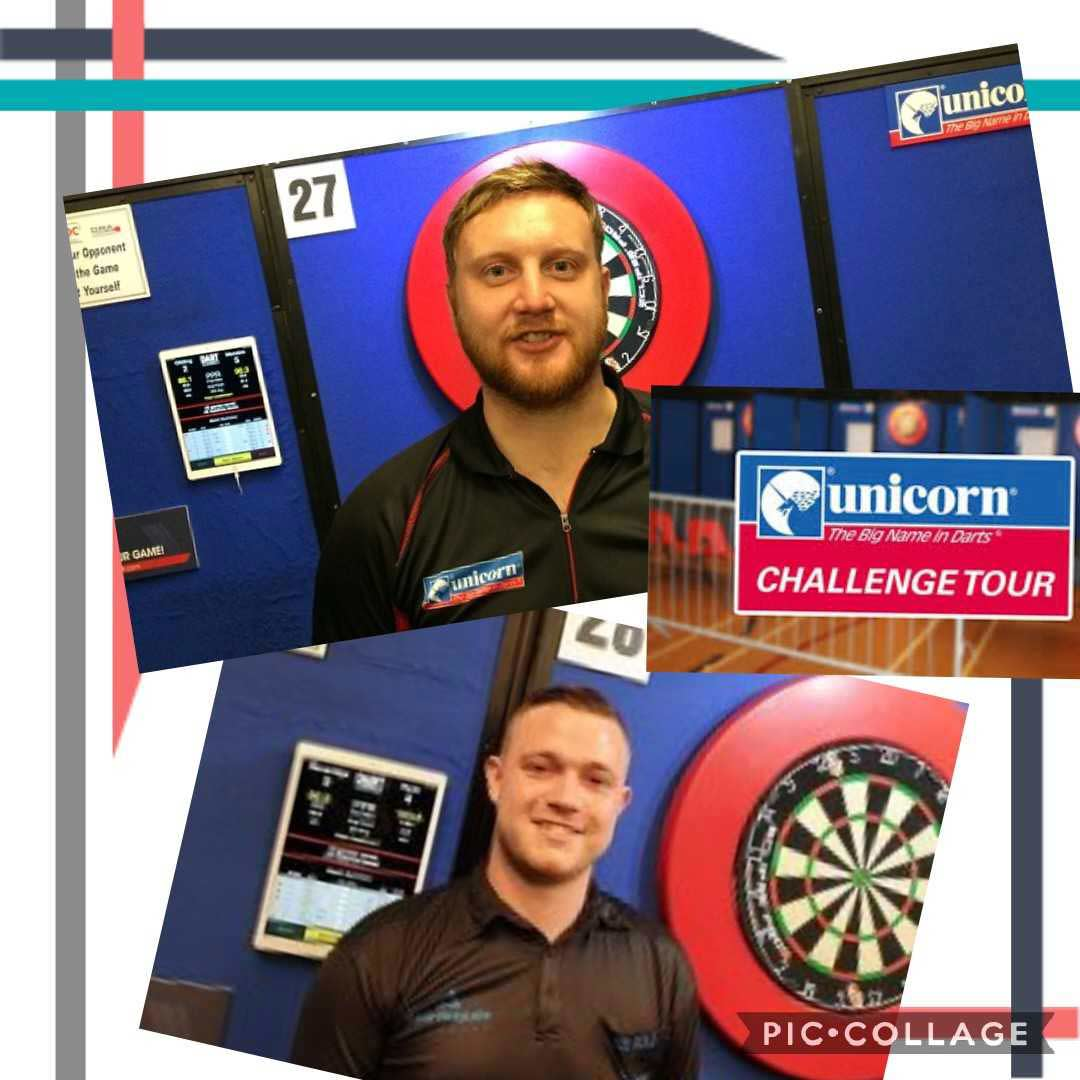 Challenge tour images with Cameron Menzies in front of dartboard