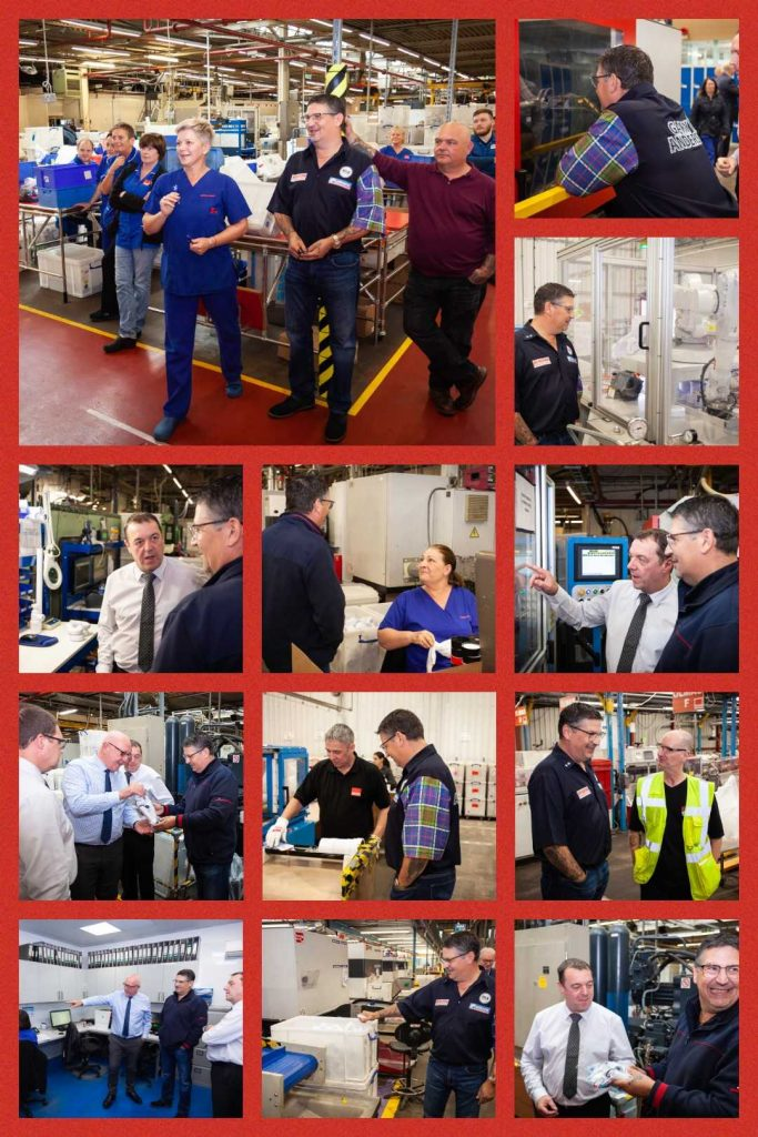 Various photos of Gary Anderson with McAlpine Plumbing staff and Management, in the Factory with machinery