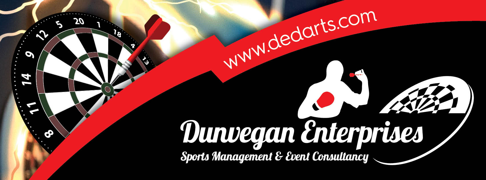 Dunvegan Enterprises logo and web address with dartsboard